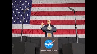 Vice President Mike Pence addresses employees at NASA's Langley Research Center