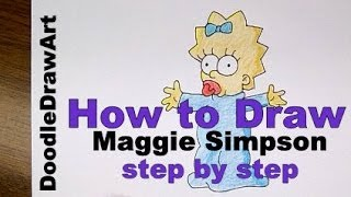 Drawing: How To Draw Maggie Simpson Step by Step