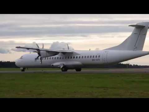Finnair ATR 72-500 engine start-up and taxi at Tartu airport