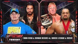 WWE RAW 15 - John Cena & Roman Reigns vs Brock Lesnar & Rusev - WWE RAW Full Match HD!