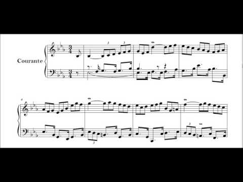 J S Bach French Suite no 4 in E flat BWV 815 Courante Perahia