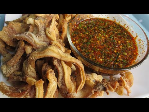 Fried Pork Ears And Spicy Chili Sauce / Asian Cooking Style
