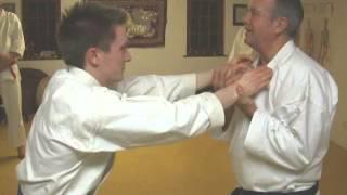 Tom Hill's Karate Dojo; Goju Kata Bunkai; Shisochin; strangle double grab pull down