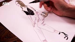 [수채화 그림 그리기/asmr] 패션 일러스트 도안에 …