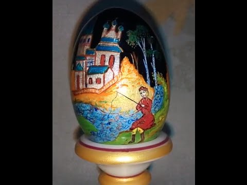 Hand painted wooden egg