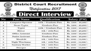 District Court Recruitment 2017 |  10th Pass Job | 8th Pass job | Govt Job 2017 Video