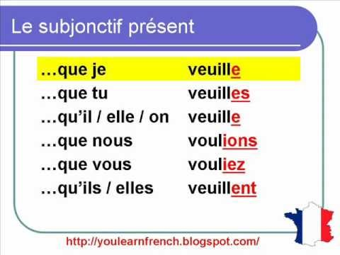 French Lesson 151 - The Present Subjunctive Conjugation - Le Subjonctif Présent Conjugaison