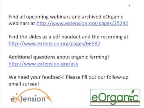 Developing an Organic System Plan for Row Crop Production