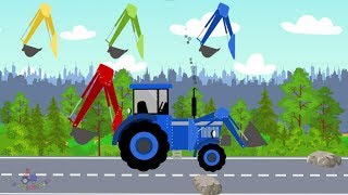 #Excavator and Truck | Tractor excavator | Street Vehicles  | Learning color Blue - video for kids