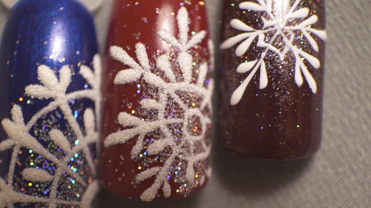 стать снежинка на ногтях пошаговое фото домой