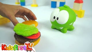 Om Nom Monster Frog - YUMMY! Burger & Sandwich Game! (Cut The Rope) Food Safety Video for Children