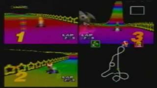 MK64 3-Player VS 150cc MJ(Toad) + VAJ(Yoshi) + Maurice(Peach) part 1