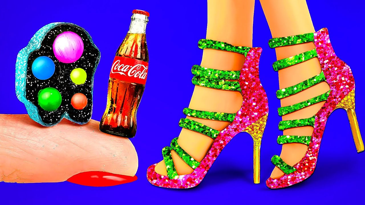21 DIY Doll Miniatures for Dollhouse crafts 〜 Mini Pop it bag, Coca Cola, Sparkling shoes and more