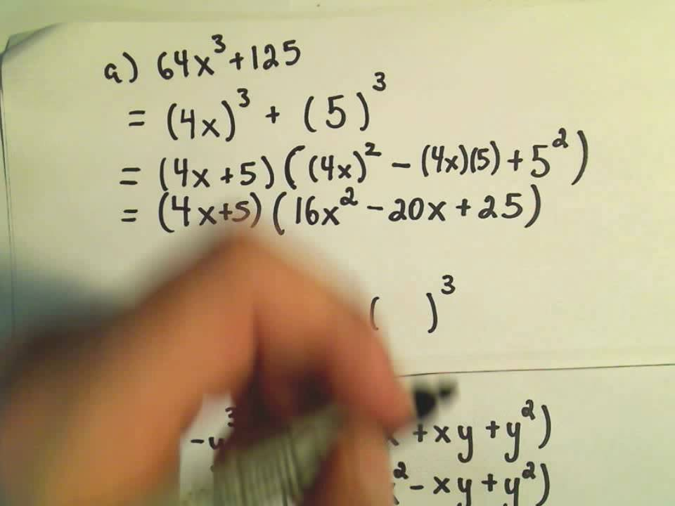 Factoring Sums and Differences of Cubes - YouTube
