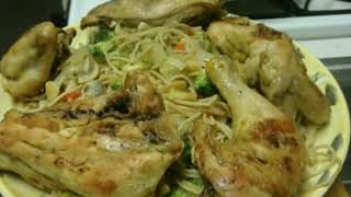 Sauteed Vegies W/ Lite Fried Chicken & Angel Hair Pasta