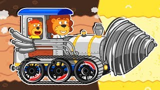 Lion Family 🚋 Journey to the Center of the Earth - Steam Locomotive Cartoon for Kids