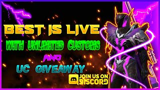 BEST IS LIVE WITH UNLIMITED CUSTOMS AND UC GIVEAWAY AT 250 SUBS  PUBG MOBILE LIVE  BEST GAMING.