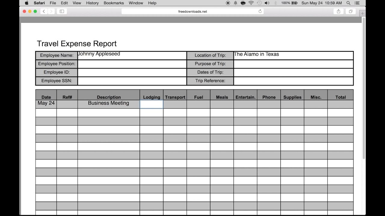 travel expense sheet excel
