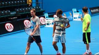 Australian Open: Federer and Edberg warm up - 2014 Australian Open