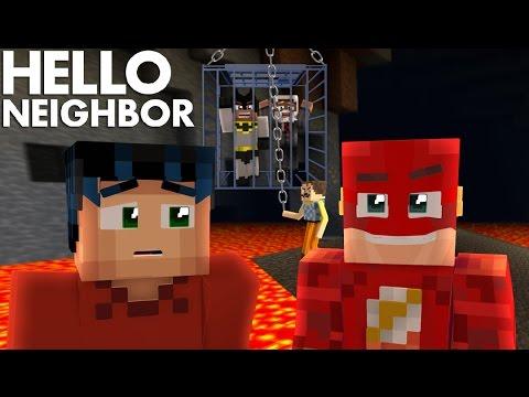 Minecraft Hello Neighbor - The Flash & Minecraft Steve Go through The Giga Portal to Rescue Batman
