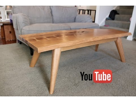 Mid Century Modern Live Edge Coffee Table Youtube