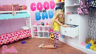 Mauvaise Barbie & Bonne Barbie Chambre Routine du matin | Good & Bad Barbie dolls Morning Routine
