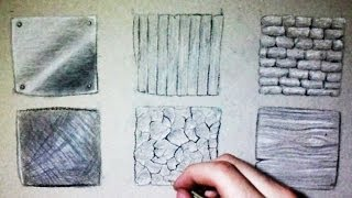 Drawing Time Lapse: 6 different textures (Wood, metal, stone...)