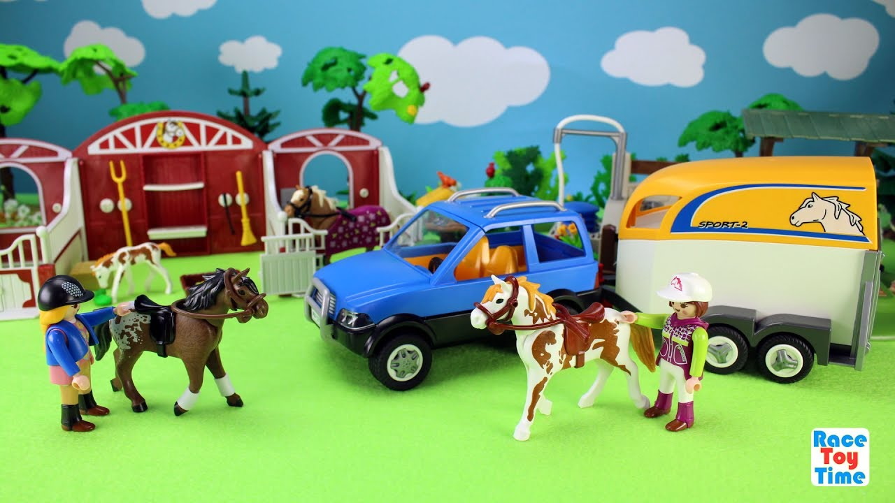 Playmobil Horse Trailer And Paddock Stable Barn Playset
