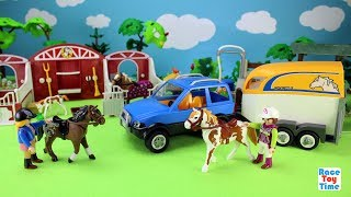 Playmobil Horse Trailer and Paddock Stable Barn Playset - Fun Animal Toys Video For Kids