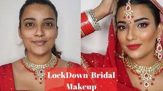 STEP BY STEP LOCKDOWN BRIDE MAKEUP | BRIDE MAKEUP AT HOME | IN HINDI | BRIDE  MAKEUP KIT