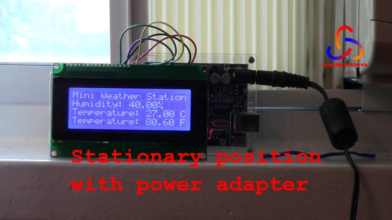 Mini weather station v dht sensor with i c lcd
