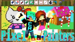 hello kitty in candyland hypixel pixel painters with gamer chad   minecraft minigame