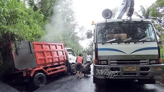 Dump Truck Stuck Recovery by Fuso Self Loader Truck