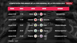 Los horarios para las clasificatorias a Rusia 2018