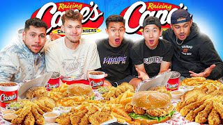 Eating EVERYTHING from Raiṡing Canes Menu! Ft Jesser Trav Efron & Johnny