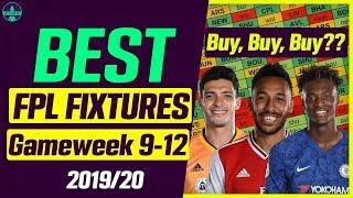FPL BEST FIXTURES (TEAMS+PLAYERS) | GAMEWEEK 9-12 | FANTASY PREMIER LEAGUE TIPS 2019/20
