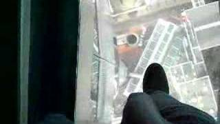 walking on Sky Tower glass floor