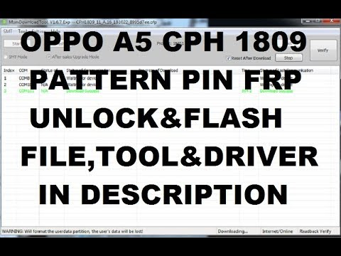 Oppo A5 CPH1809 Pattern PIn Frp Unlock Full Flashing — MyVideo