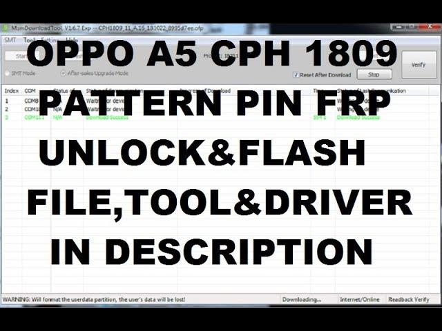 Oppo A5 CPH1809 Pattern PIn Frp Unlock Full Flashing — MyVideo