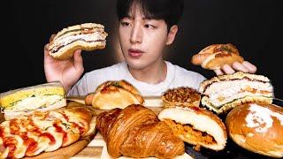 각종 빵 먹방? 크림단팥빵 고로케 샌드위치 크로와상 피…