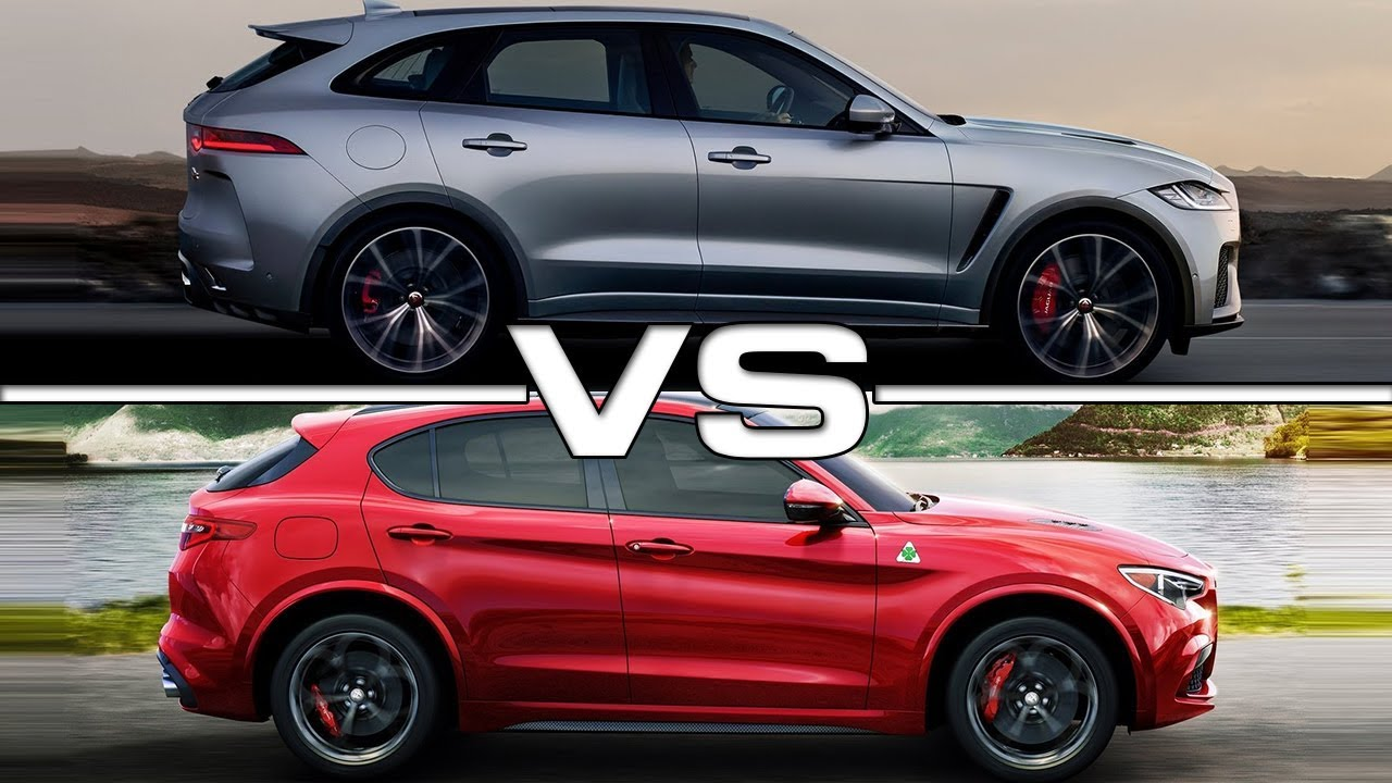 2019 jaguar f-pace svr vs 2018 alfa romeo stelvio quadrifoglio - youtube
