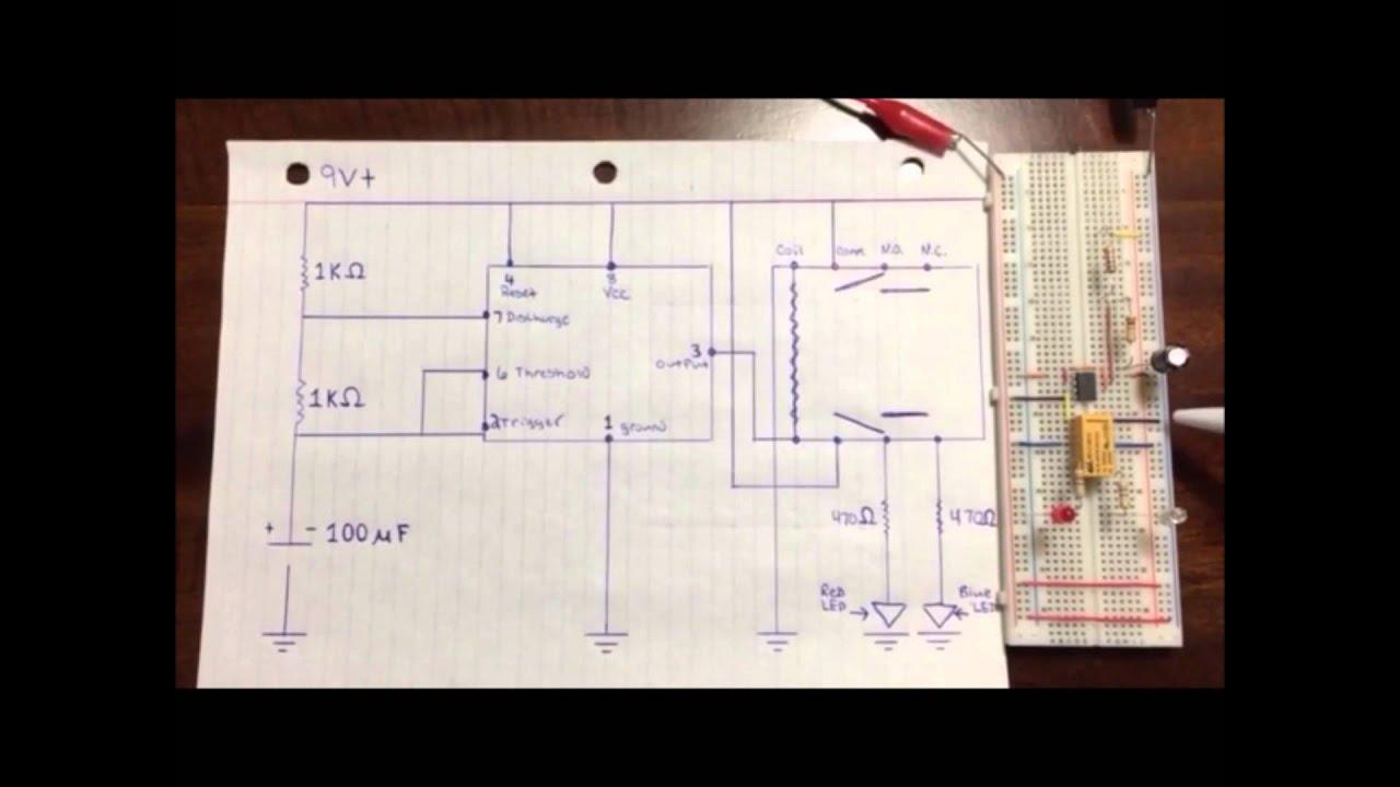 555 Timer With 12v Dc Relay Youtube Basic Astable Ic Flasher Ledandlightcircuit Circuit