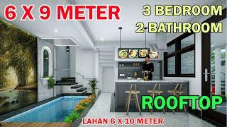 Split Level House  6X9 Meter 3 Kamar 2 Toilet Mushola Rooftop Kolam Renang Lahan 6x10 Meter