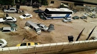 الفيضانات تغرق شوارع عمان عاصمة الاردن floods drown the streets of the jordanian capital amman