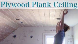 diy plywood plank ceiling