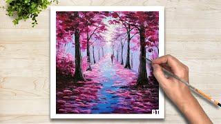 Acrylic Painting #01| Vẽ Tranh Phong Cảnh Khu Rừng Mộng Mơ Bằng Màu Acrylic
