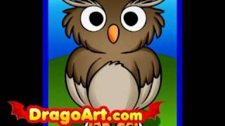 How to draw a cartoon owl, step by step