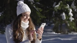 Girl With Phone In Winter Stock Video
