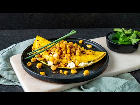Corn & Feta Omelet With Chives