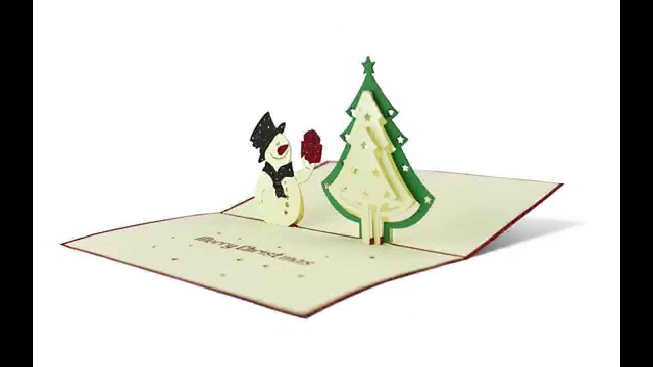 schneemann pop up karte als weihnachtskarte youtube. Black Bedroom Furniture Sets. Home Design Ideas